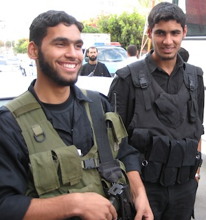 Part of the welcoming committee – Hamas guards