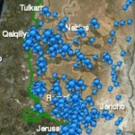 Map showing concentration of Jewish colonies in West Bank