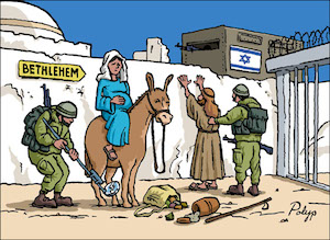 Billboard shows Mary, pregnant with Jesus, being led on a donkey towards Bethlehem by her husband Joseph and is confronted by Israeli occupation forces