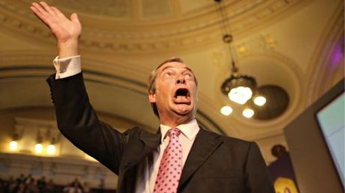 Nigel Farage with mouth wide open