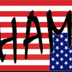 "US flag upside down overlaid with word ""shame"""