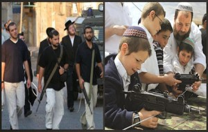 Jewish settlers and their armed children