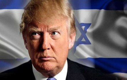 Donald Trump in front of the Israeli flag