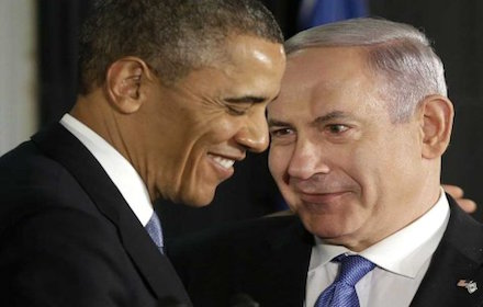 Obama and Netanyahu smiling at each other